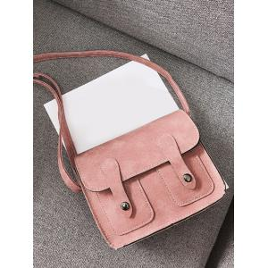 PU Leather Stitching Buckle Straps Crossbody Bag -