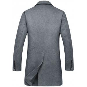 Flap Pocket Single Breasted Wool Blend Coat - GRAY XL