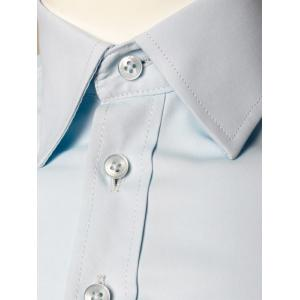 Plain Long Sleeve Business Shirt - LIGHT BLUE 3XL