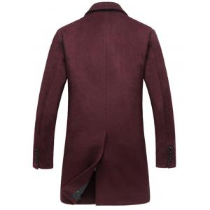 Flap Pocket Single Breasted Wool Blend Coat - WINE RED 3XL