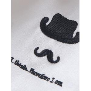 Roll Tab Sleeve Hat Moustache Embroidery Shirt - LIGHT BLUE XL
