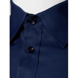 Plain Long Sleeve Business Shirt - PURPLISH BLUE 5XL