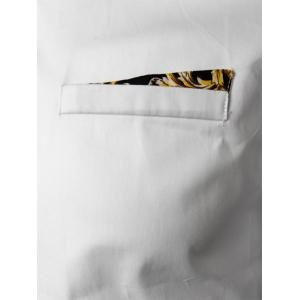 Floral Trim Faux Pocket Button Down Shirt - WHITE M