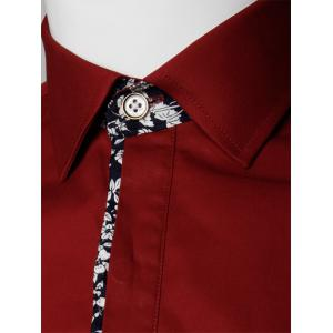 Long Sleeve Floral Detail Pocket Shirt - WINE RED 4XL