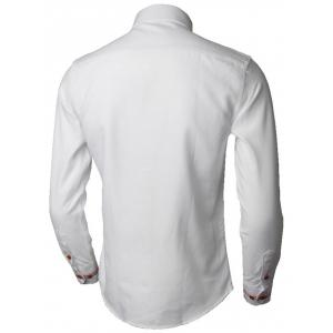 Stripe Detail Long Sleeve Shirt - WHITE 3XL