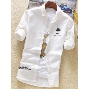 Roll Tab Sleeve Hat Moustache Embroidery Shirt - WHITE 4XL