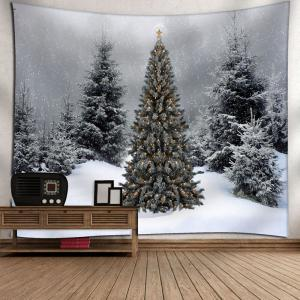 Wall Decor Christmas Snow Tree Tapestry - GRAY W79 INCH * L71 INCH