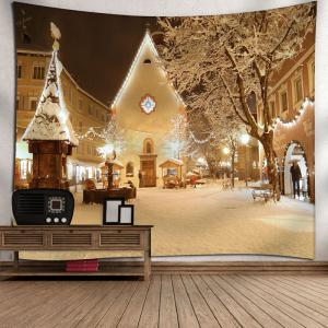 Christmas Town Snowscape Print Wall Tapestry - YELLOW W79 INCH * L59 INCH