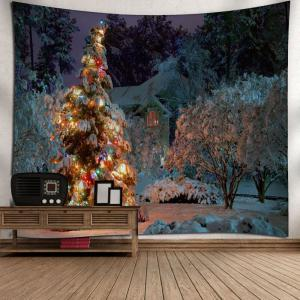 Snowscape Christmas Tree Wall Tapestry - COLORMIX W79 INCH * L59 INCH