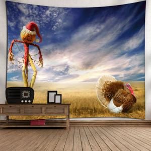 Pumpkin Scarecrow Pattern Wall Tapestry - BLUE W79 INCH * L59 INCH
