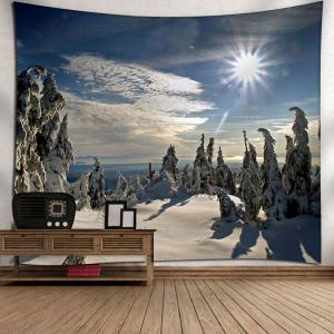 Wall Decor Christmas Snowscape Tapestry - BLUE W79 INCH * L59 INCH