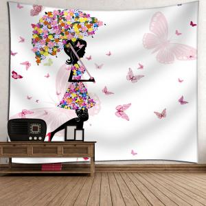 Butterfly Flower Beautiful Girl Wall Tapestry - WHITE W79 INCH * L71 INCH