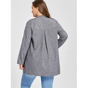 Plus Size Lapel Open Front Coat -