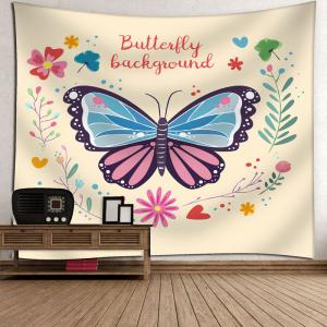 Floral Butterfly Wall Art Tapestry - PALOMINO W79 INCH * L71 INCH