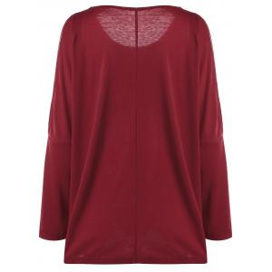 Plus Size Embroidered Split Sleeve Top - RED 3XL