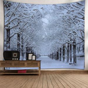 Wall Hanging Snowscape Printed Tapestry - WHITE W79 INCH * L71 INCH