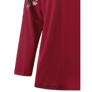 Plus Size Embroidered Split Sleeve Top - RED 4XL