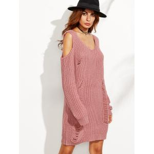 Cold Shoulder Ripped Sweater Dress - PINK S