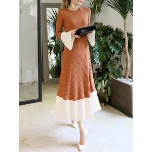 Flare Sleeve Knitted Midi Dress - CAMEL S