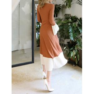 Flare Sleeve Knitted Midi Dress - CAMEL M