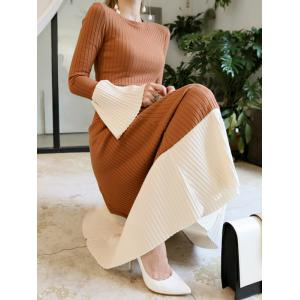 Flare Sleeve Knitted Midi Dress - CAMEL L