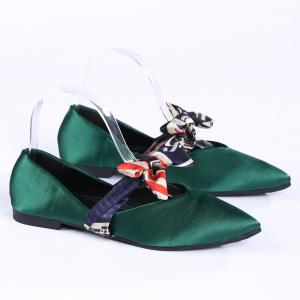 Slip On Bowknot Flat Shoes - GREEN 40
