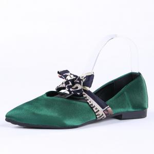 Slip On Bowknot Flat Shoes - GREEN 37