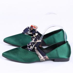 Slip On Bowknot Flat Shoes - GREEN 36