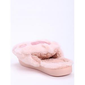 Color Block Faux Fur Slippers - PINK SIZE(36-37)