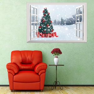 3D  Window Forest Christmas Tree Wall Art Sticker - COLORMIX 48.5*72CM