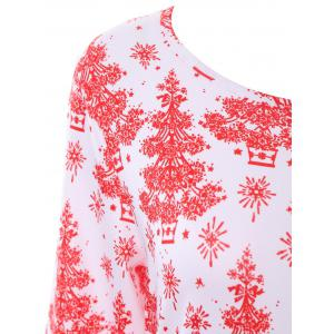 Plus Size Christmas Tree Dress with Sleeves - WHITE 4XL
