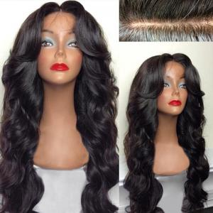 Long Free Part Bouffant Body Wave Human Hair Lace Front Wig - NATURAL BLACK