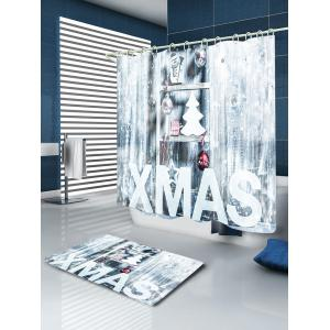 Xmas Snow Print Fabric Waterproof Bathroom Shower Curtain - WHITE W71 INCH * L71 INCH