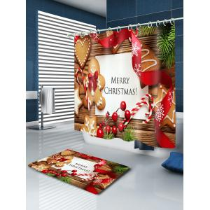 Christmas Cookies Print Fabric Waterproof Bathroom Shower Curtain - COLORMIX W71 INCH * L79 INCH