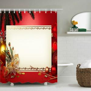 Christmas Decoration Print Fabric Waterproof Bathroom Shower Curtain - RED W71 INCH * L79 INCH