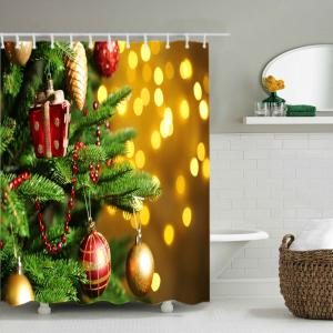 Christmas Tree Baubles Print Fabric Waterproof Bathroom Shower Curtain - COLORMIX W71 INCH * L79 INCH