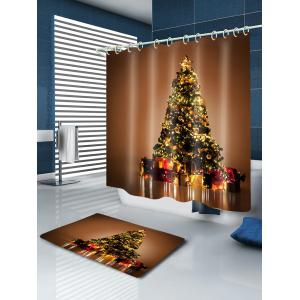 Christmas Tree Gifts Print Fabric Waterproof Bathroom Shower Curtain - GOLD BROWN W71 INCH * L71 INCH