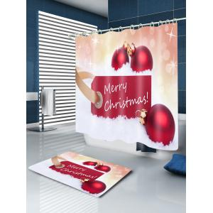 Merry Christmas Baubles Print Fabric Waterproof Bathroom Shower Curtain - RED W71 INCH * L71 INCH