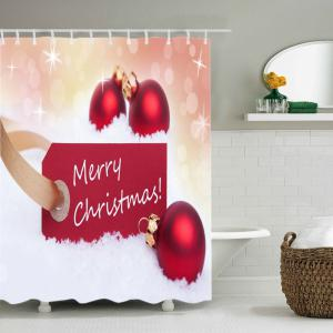 Merry Christmas Baubles Print Fabric Waterproof Bathroom Shower Curtain - RED W71 INCH * L79 INCH