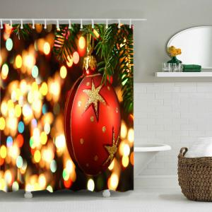 Christmas Bauble Lights Print Fabric Waterproof Bathroom Shower Curtain - RED W71 INCH * L79 INCH