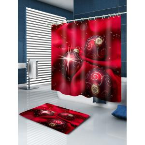 Christmas Cloth Baubles Print Fabric Waterproof Bathroom Shower Curtain - RED W71 INCH * L79 INCH