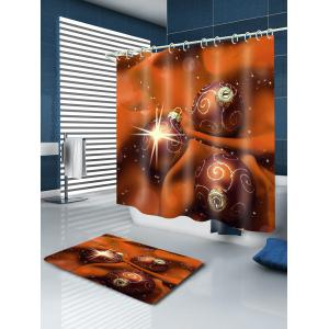 Christmas Cloth Baubles Print Fabric Waterproof Bathroom Shower Curtain - MANDARIN W71 INCH * L71 INCH