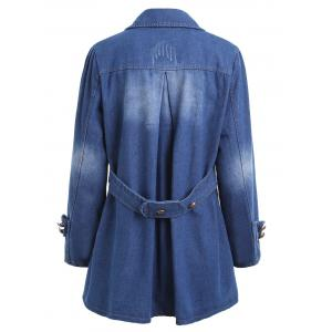 Plus Size Pocket Distressed Denim Jacket - DENIM BLUE 2XL
