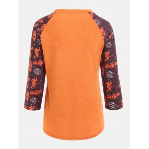 Personalized Sentence Print Raglan Sleeve Halloween T-shirt - ORANGE S