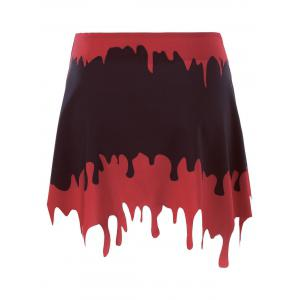 Halloween Blood Drenched A-line Skirt - BLACK&RED XL