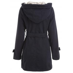 Hooded Leopard Belted Pea Coat -