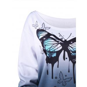 Plus Size Buttterfly Print Ombre Sweatshirt - WHITE 4XL