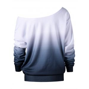 Plus Size Buttterfly Print Ombre Sweatshirt - WHITE 5XL