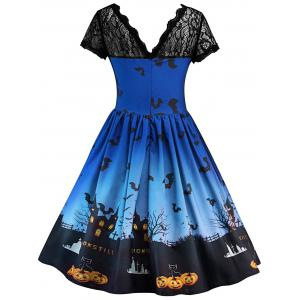 Robe d'Halloween Vintage Empiècement en Dentelle - Bleu Royal L