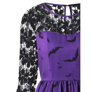Halloween Plus Size Bat Print Lace Insert Dress -
